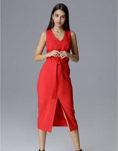Czerwona sukienka Figl z dekoltem w kształcie litery v
