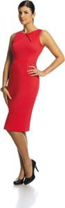 Sukienka Fokus ołówkowa bez rękawów z tkaniny