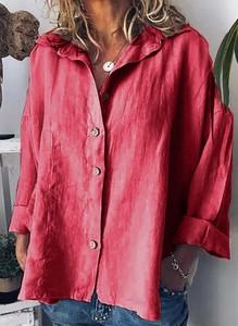 Różowa bluzka Cikelly z dekoltem w kształcie litery v z długim rękawem w stylu casual