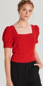 Czerwona bluzka Cropp z dekoltem w karo w stylu boho