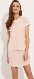 Różowa bluzka Diverse w stylu casual z krótkim rękawem z bawełny