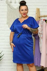 Niebieska sukienka KARKO w stylu casual z tkaniny mini