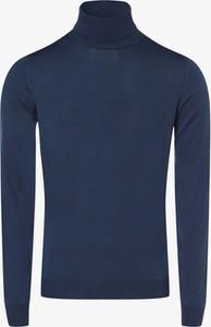 Niebieski sweter Finshley & Harding z wełny z golfem w stylu casual