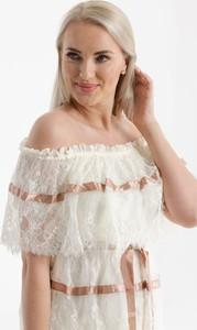 Sukienka Butik Ecru z krótkim rękawem mini w stylu boho