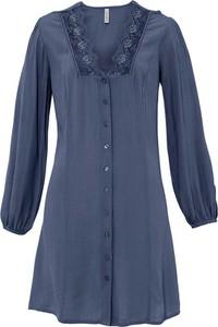 Niebieska sukienka bonprix z dekoltem w kształcie litery v z długim rękawem