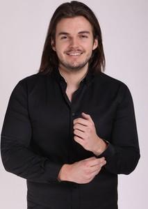 Czarna koszula Szachownica w stylu casual z długim rękawem z klasycznym kołnierzykiem