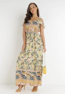Żółta sukienka born2be maxi z okrągłym dekoltem