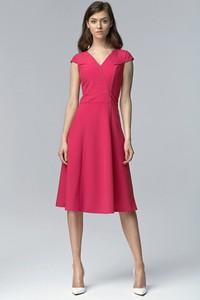 Różowa sukienka Merg z krótkim rękawem