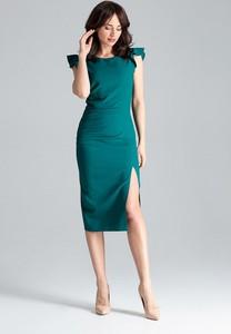 Sukienka sukienki.pl midi z okrągłym dekoltem z krótkim rękawem