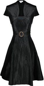 Czarna sukienka Fokus midi rozkloszowana z okrągłym dekoltem
