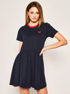 Sukienka Tommy Jeans z krótkim rękawem rozkloszowana mini