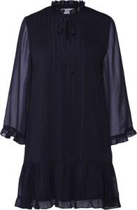 Granatowa sukienka Moves mini z szyfonu