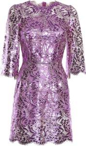 Fioletowa sukienka Dolce & Gabbana w stylu casual z okrągłym dekoltem