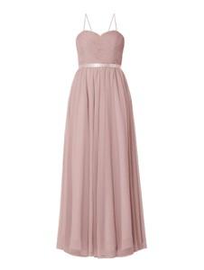 Różowa sukienka Mascara z satyny z dekoltem w kształcie litery v maxi