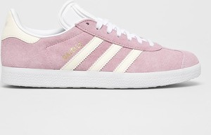 Różowe trampki Adidas Originals sznurowane gazelle z płaską podeszwą