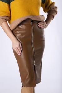 Brązowa spódnica candivia.pl ze skóry ekologicznej