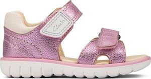 Różowe buty dziecięce letnie Clarks na rzepy dla dziewczynek