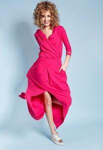 96970253ca3d8d Różowa sukienka Madnezz maxi z dekoltem w kształcie litery v asymetryczna