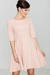 Różowa sukienka sukienki.pl z długim rękawem w stylu casual
