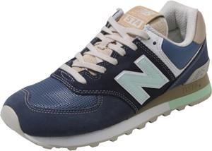 Niebieskie buty New Balance w stylu casual z zamszu na platformie
