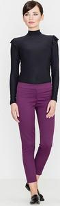 Fioletowe spodnie LENITIF z tkaniny w stylu casual