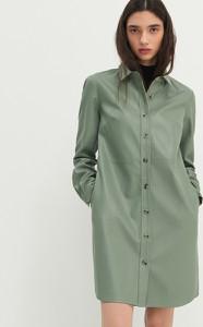 Zielona sukienka House mini z długim rękawem ze skóry