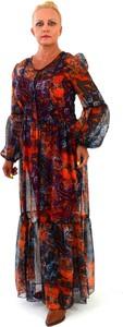 Sukienka Roxana - sukienki z szyfonu maxi z długim rękawem