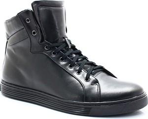 KENT 306S CZARNE - Wysokie buty ze skóry