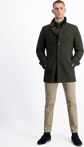 Zielony płaszcz męski Lavard z jedwabiu