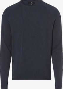 Niebieski sweter Nils Sundström z okrągłym dekoltem