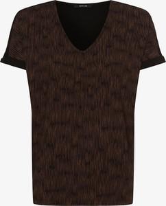 Brązowy t-shirt Opus w stylu casual z krótkim rękawem