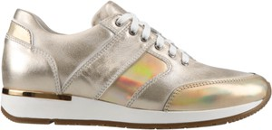 Złote buty sportowe Conhpol Dynamic sznurowane ze skóry z płaską podeszwą