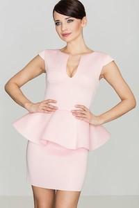 Różowa sukienka LENITIF midi z krótkim rękawem ołówkowa