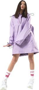 Fioletowa kurtka REST FACTORY krótka w stylu casual z tkaniny