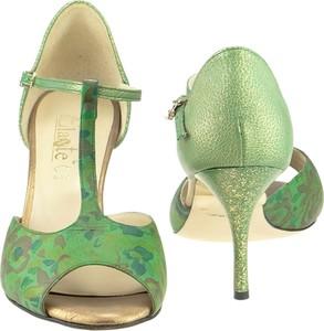455c56ca07c3d9 Zielone sandały Elante z klamrami na szpilce na średnim obcasie