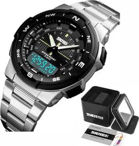 Zegarek MĘSKI SKMEI 1370 srebrny elegancki LED