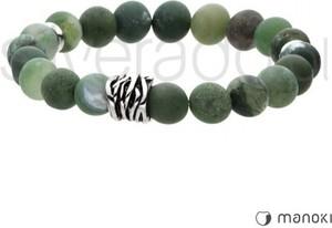 Silverado zielona bransoletka z naturalnych, matowych agatów ze stalowym elementem 77-ba414z