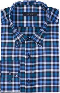 Niebieska koszula Lavard w stylu casual z bawełny z długim rękawem