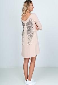 Różowa sukienka Zoio asymetryczna z bawełny midi