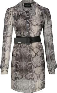 Sukienka John Richmond z długim rękawem mini z jedwabiu