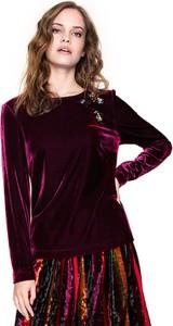 Bluzka L'AF z długim rękawem z tkaniny z okrągłym dekoltem
