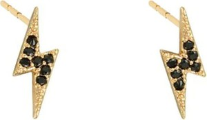 Braccatta XENA GOLD kolczyki srebrne pozłacane czarne cyrkonie błyskawica