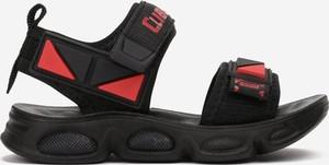 Czarne buty dziecięce letnie born2be ze skóry na rzepy dla chłopców