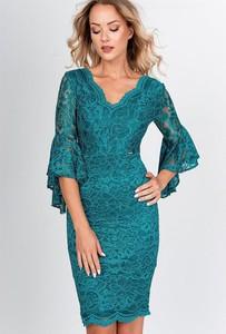 Sukienka ZOiO.pl mini z dekoltem w kształcie litery v z długim rękawem