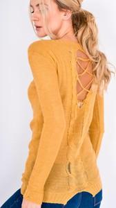 Żółty sweter Zoio w stylu casual z dzianiny