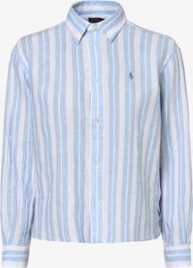 Niebieska bluzka POLO RALPH LAUREN z lnu z długim rękawem z kołnierzykiem