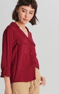 Czerwona koszula Cropp z kołnierzykiem