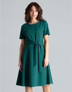 Zielona sukienka LENITIF z krótkim rękawem midi