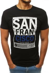 Czarny t-shirt Dstreet z bawełny z nadrukiem