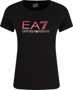 T-shirt EA7 Emporio Armani w młodzieżowym stylu z okrągłym dekoltem